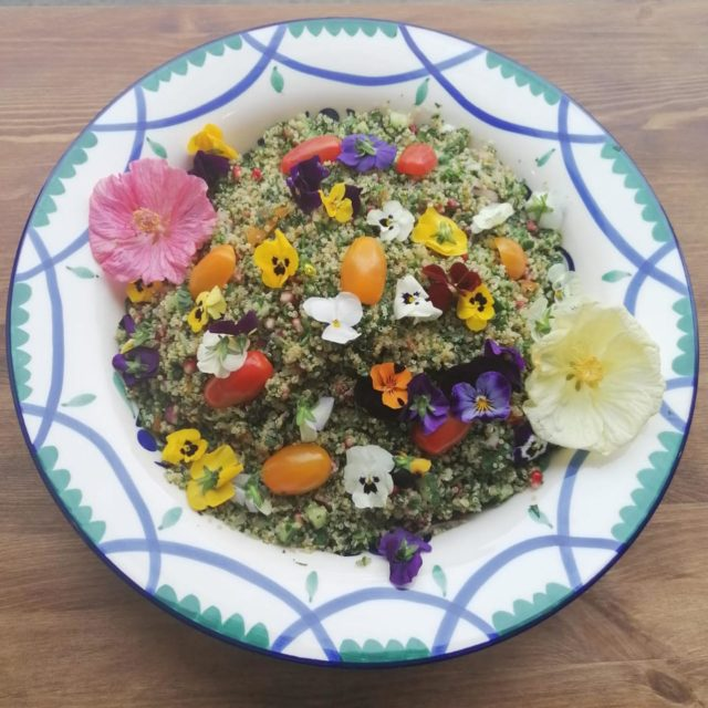 Our unique and special Tabbouleh made with quinoa, pomegrenate and decorated with edible flowers from @artichokehampstead Suitable for gluten free, vegan and vegetarians.